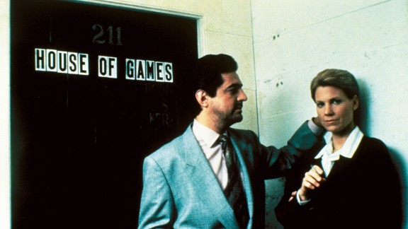 """Psychiatrist Margaret Ford (Lindsay Crouse) gets sucked into an underworld of con men led by Mike (Joe Mantegna) in """"House of Games"""" (1987). She thinks she's studying them, but as the old poker-table saying goes, if you don't know who the sucker is, you're the sucker. David Mamet, then Crouse's husband, wrote and directed."""