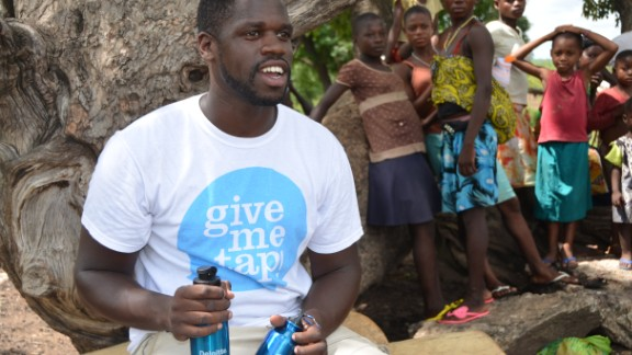 """Social entrepreneur Edwin Broni-Mensah launched GiveMeTap -- a free water refill network in the UK. """"For every bottle that we sell, we are able to help another person get access to clean drinking water,"""" he says."""