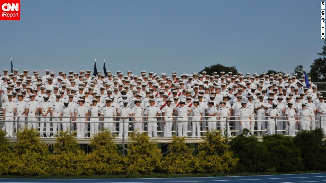Cadets stand for graduation at the U.S. Merchant Marine Academy in Kings Point, New York.