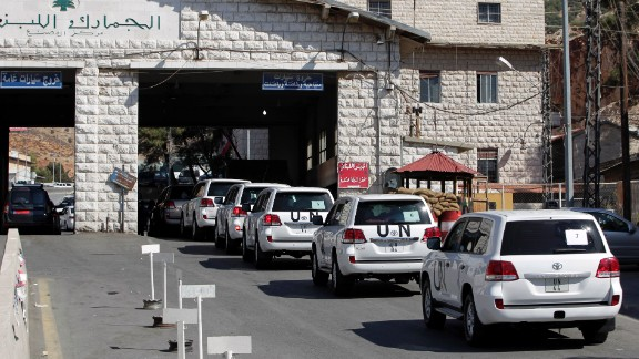 A convoy of inspectors from the Organization for the Prohibition of Chemical Weapons prepares cross into Syria at the Lebanese border crossing point of Masnaa on Tuesday, October 1. Inspectors from the Netherlands-based watchdog arrived in Syria on Tuesday to begin their complex mission of finding, dismantling and ultimately destroying Syria