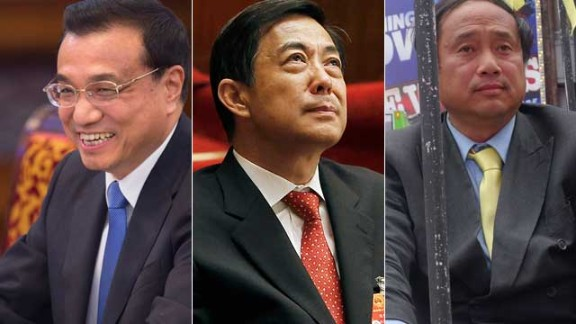 Li Keqiang (L), Bo Xilai (C) and Wang Juntao (R) emerged from China