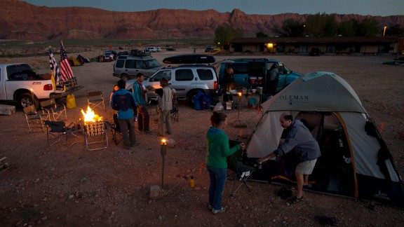 River runners make camp in a dirt parking lot in Marble Canyon, Arizona, after being unable to access the Colorado River at Lee