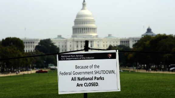 A closure sign is posted on the National Mall in front of the U.S. Capitol in Washington on Thursday, October 3.