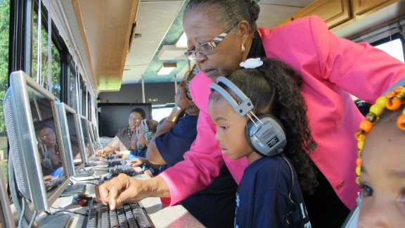 """Estella Pyfrom used her life savings to create """"Estella's Brilliant Bus,"""" a mobile computer lab that provides tutoring for thousands of low-income students in Palm Beach County, Florida. """"It's not just a bus, it's a movement,"""" Pyfrom said. """"And we're going to keep making a difference."""""""