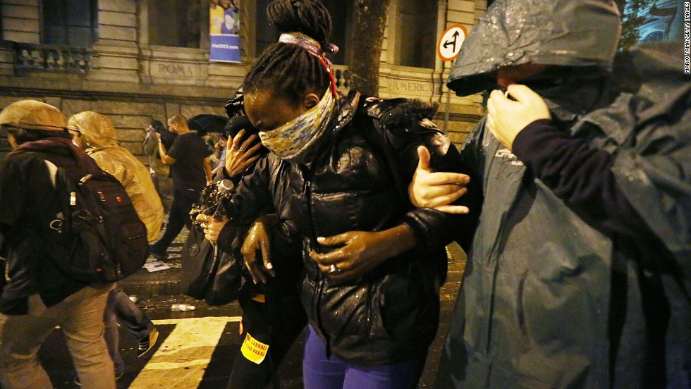 Police have used tear gas on occasions to break up protests, as they did in Rio last October.