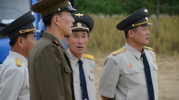 Guards and custom officials by the border to China.