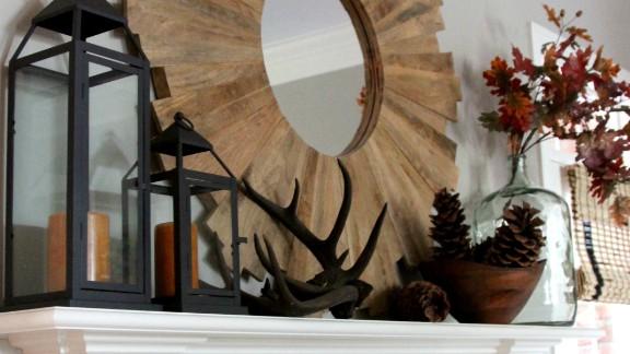 "<a href=""http://ireport.cnn.com/docs/DOC-1046186"">Emily Clark's</a> <a href=""http://emilyaclark.blogspot.com/"" target=""_blank"" target=""_blank"">fall mantel</a> includes rustic deer antlers."