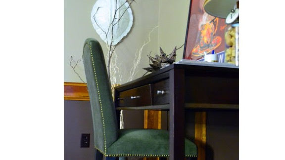 Vinson displays a faux tortoise shell in her living room.