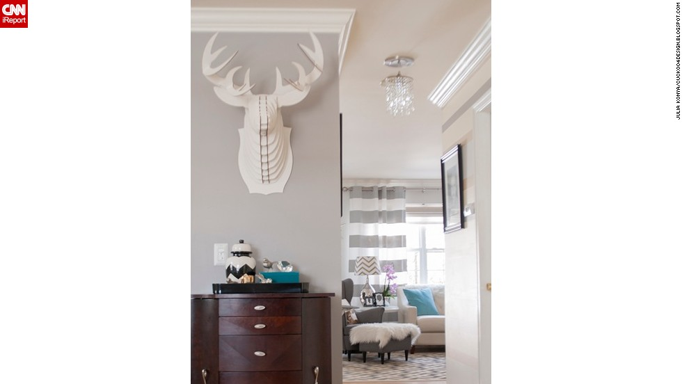 "<a href=""http://ireport.cnn.com/docs/DOC-1040934"">Julia Konya</a> displays a cardboard faux taxidermy stag head outside her living room."