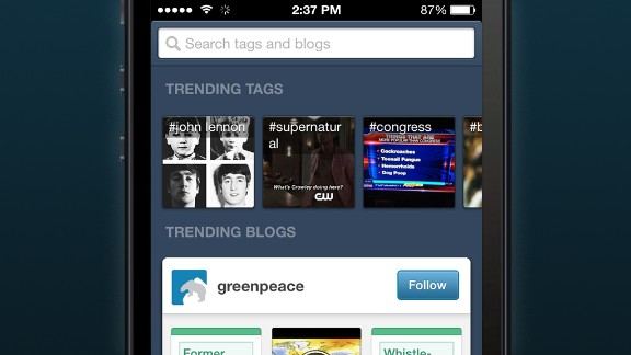 <strong>Tumblr:</strong> Users collect and share items of interest with fellow users, from videos to images to blog posts.