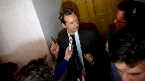 Assange attends a seminar at the Swedish Trade Union Confederation in Stockholm on August 14, 2010. Six days later, Swedish prosecutors issued a warrant for his arrest based on allegations of sexual assault from two women. Assange has always denied wrongdoing.