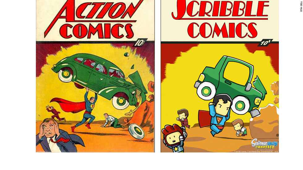 "In ""Scribblenauts Unmasked,"" the covers of classic comics are reworked as part of the story. Perhaps the most iconic comic ever, ""Action Comics No. 1,"" is included. It introduced the world to Superman."