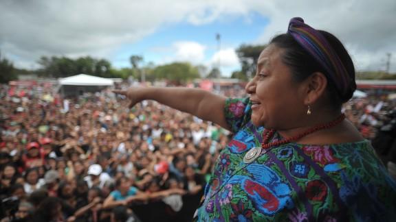 Rigoberta Menchu campaigns in the Alameda neighborhood of Guatemala City, Guatemala, on November 4, 2011. Menchu won the Nobel Peace Prize in 1992.