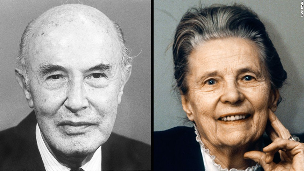 Alva Myrdal, right, and Alfonso Garcia Robles won the Nobel Peace Prize in 1982, having played a central role in the United Nations' disarmament negotiations.