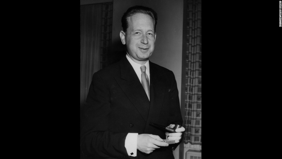 Dag Hammarskjold, Swedish politician and the second U.N. secretary general, won the Nobel Peace Prize in 1961.