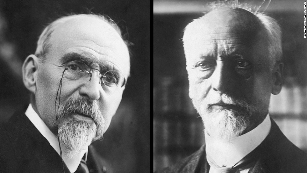 French educator Ferdinand Buisson was jointly awarded the Nobel Prize for Peace in 1927 with Ludwig Quidde, right, who founded the League for Human Rights.