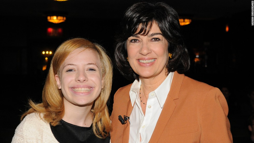 Amanpour poses with contest winner Julia Fine.
