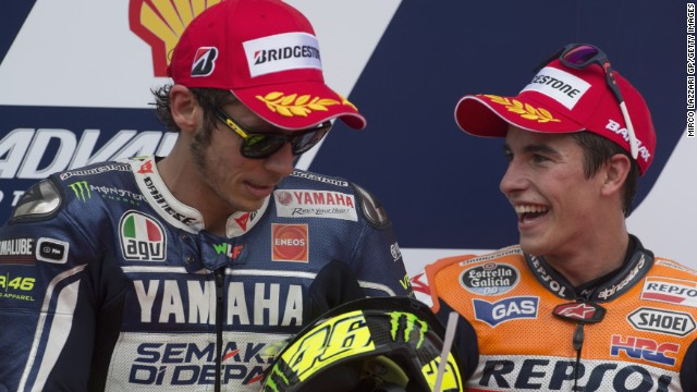 Valentino Rossi, left, is a motorcycling legend but the Italian and everyone else lag behind Marc Marquez this season.