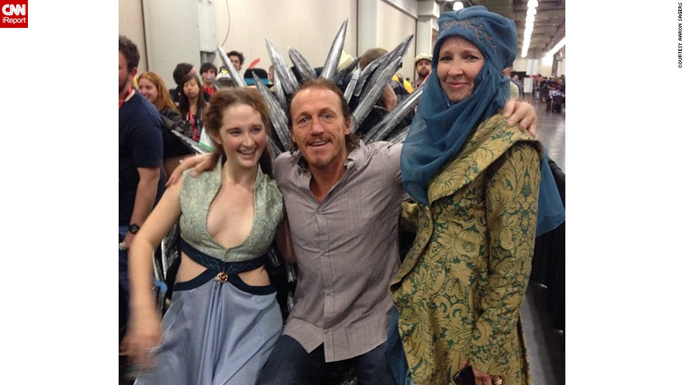"""Game of Thrones"" star Jerome Flynn, center, met some fans and had a seat on the <a href=""http://instagram.com/p/fYA25XnlWH/"" target=""_blank"">""Iron Throne.""</a>"