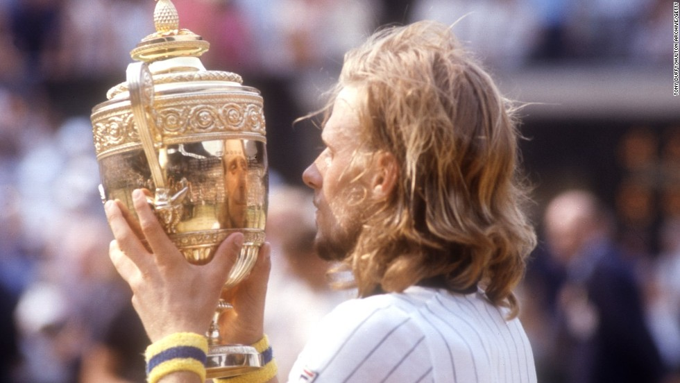 Bjorn Borg lifts the Wimbledon trophy in 1976, one of five straight wins at SW19. He relied on a diet of steak and potatoes during his incredible career.