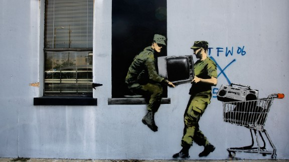 Banksy murals popped up around New Orleans a day before the third anniversary of Hurricane Katrina in 2008.
