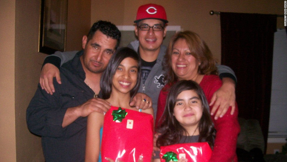 Gamez has the support of his family when it comes to eating healthier. Here he is with them at Christmas in 2012: his father, German Gamez; left to right, his sister Samantha Gamez; Gamez; his mother, Angelica Santana; and his sister Kasandra Gamez.
