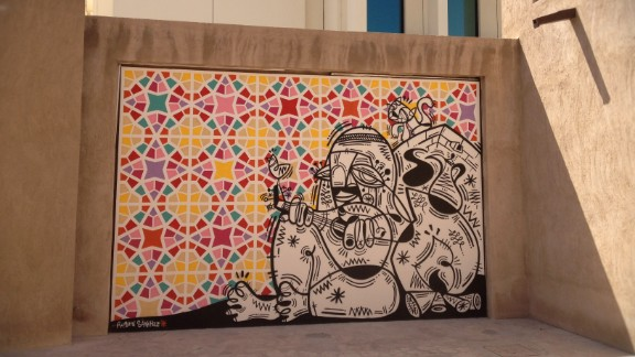 Sanchez's works in Dubai mix the Cubist influences of his home land, and icons of the local landscape (here, for instance, he mimics the tiled mosaics popular in Arabian architecture).