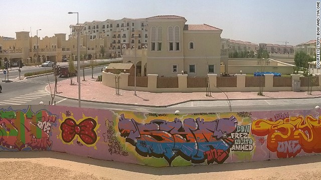 Steffi Bow and Sya One set up a graffiti wall in the garden of their Dubai home.