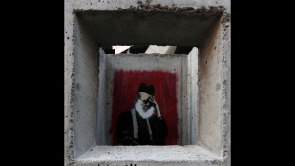 "Banksy's ""Concrete Confessional"" is seen on the Lower East Side of Manhattan."