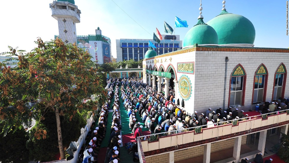 Muslims pray during at the Nanguan mosque in Yinchuan, China, on October 15.
