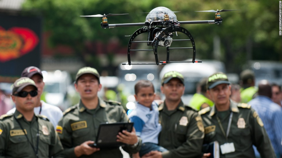 "<strong>Protect and serve: </strong>after the military, police forces were among the first to declare an interest in drones. In May, Colombian police revealed this surveillance quad-coptor -- designed to protect Latin American heads of state at the VII Pacific Allianz Summit -- and UAVs have been <a href=""http://articles.washingtonpost.com/2011-03-23/world/35261451_1_drones-scaneagle-farc"" target=""_blank"">used in counter-narcotics operations in the country since 2006</a>."