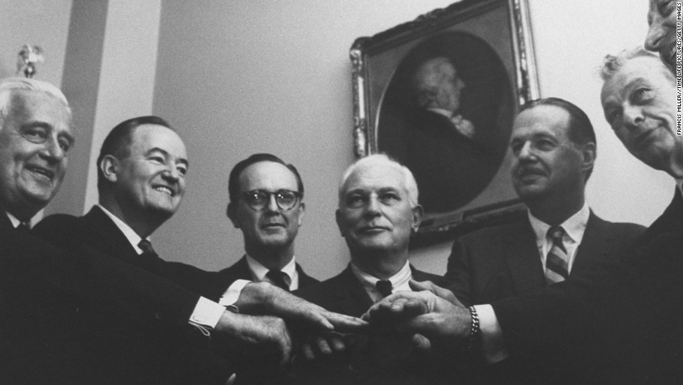 In 1964, a civil rights bill proposed by congressional Democrats was opposed by Republican senators and led to one of the longest filibusters in Senate history. Eventually, Majority Leader Hubert Humphrey, second from left, reached out to his Republican counterpart Sen. Everett Dirksen, second from right, to put an end to the debate. The bill passed nine days later.