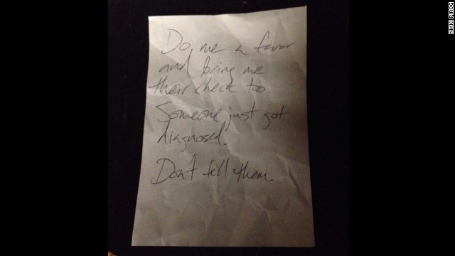 The note a man wrote at a restaurant in Cambridge, Massachusetts.