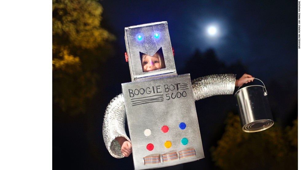 "No technology is necessary to create a classic robot costume, just some duct tape and cardboard. But these outfits get better when you add blinky lights, tablets for interactive displays, sounds and anything else you can dig up. Start with<a href=""http://makezine.com/projects/Robot-Halloween-Costume/#.UIW-Nmk5w_1"" target=""_blank""> this basic bot from Make Magazine</a>."
