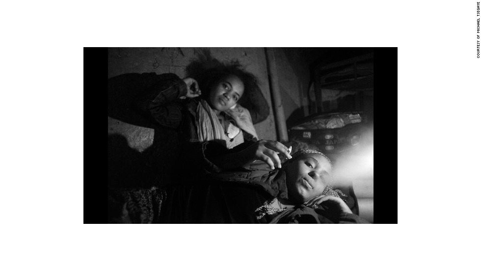 "This photograph from Tsegaye's ""Working Girls II"" series depicts sex workers who live in Sebategna, a busy neighborhood in Addis Ababa."