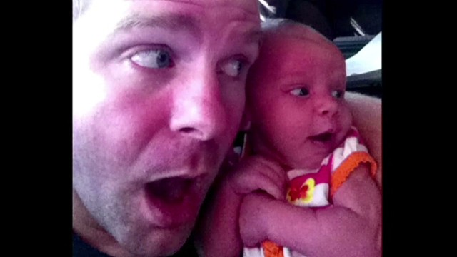 Father-baby selfies go viral