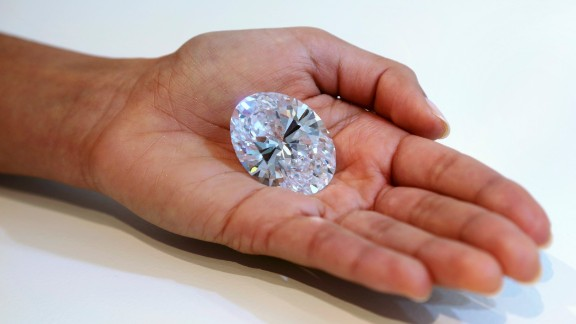 A 118-carat white diamond is on display at Sotheby