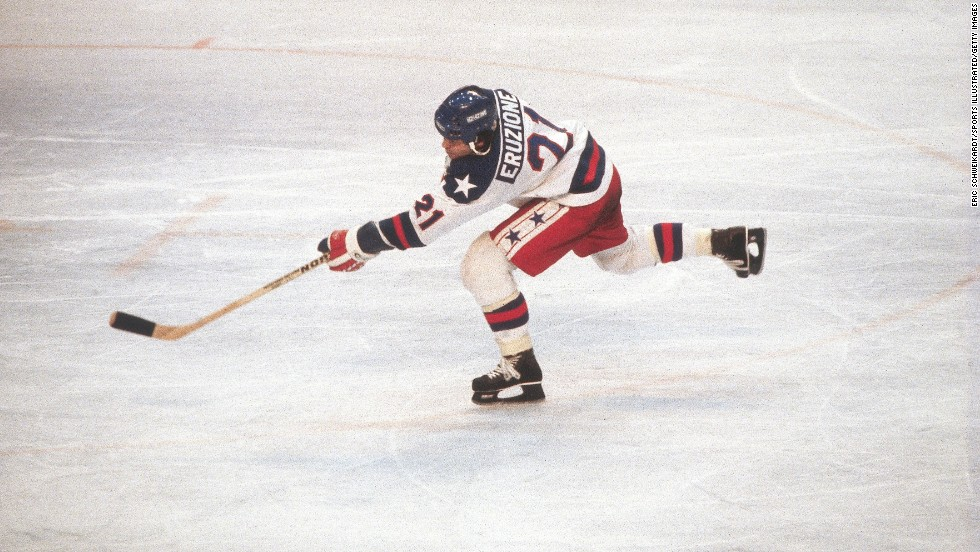 Mike Eruzione, captain of the U.S. Olympic hockey team, plays in the 1980 Winter Olympics at Lake Placid, New York, where the U.S. team defeated the Soviet Union. He sold the uniform he wore for $657,250.