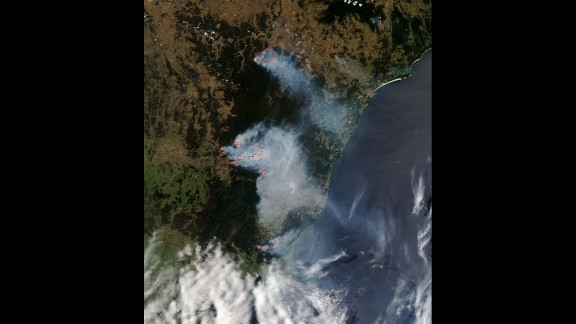 Smoke from the bush fires is seen burning near Sydney in this October 21 photo released by NASA. New South Wales is Australia