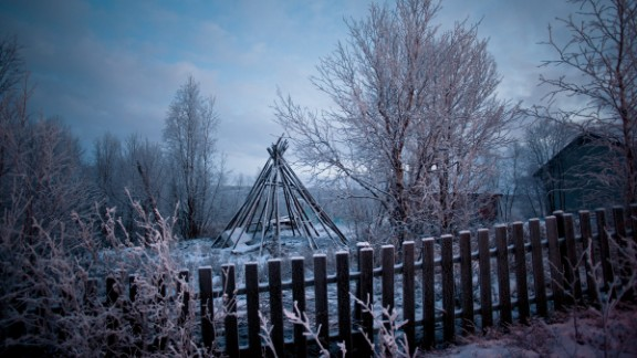Larsen spent four years living with the indigenous Sami people of Scandinavia, as part of the photography project. Tepee-style structures are common in Sami villages, where they are often used to smoke reindeer meat.