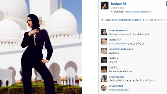 "Rihanna was asked to leave after ""posing inappropriately"" in the courtyard of the Sheikh Zayed Grand Mosque."
