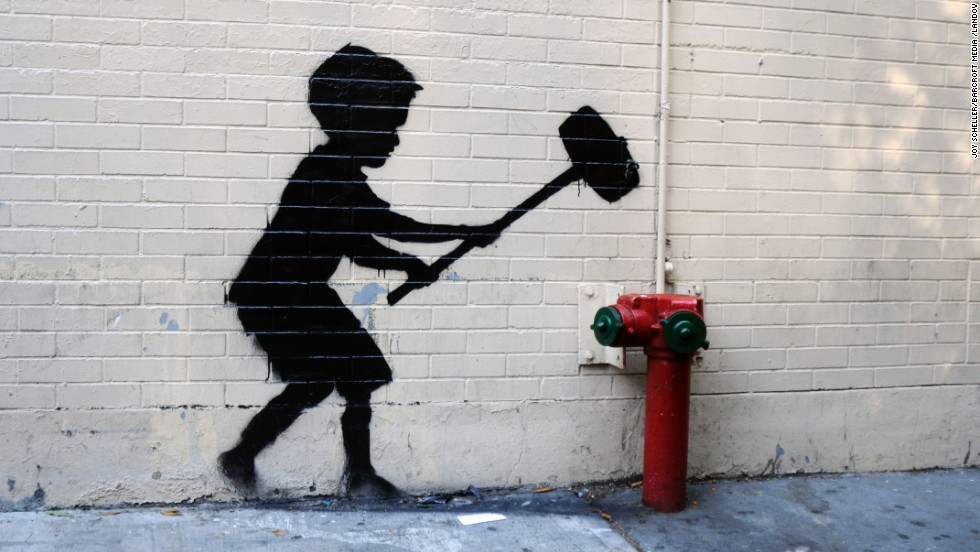 Banksy art is seen on the Upper West Side of New York in October 2013.