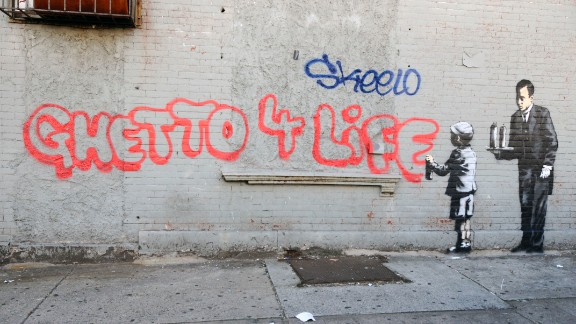 "Banksy's ""Ghetto 4 Life"" appeared in the Bronx in October 2013. New York City Mayor Michael Bloomberg suggested that Banksy was breaking the law with his guerrilla art exhibits, but the New York Police Department denied it was actively searching for him."