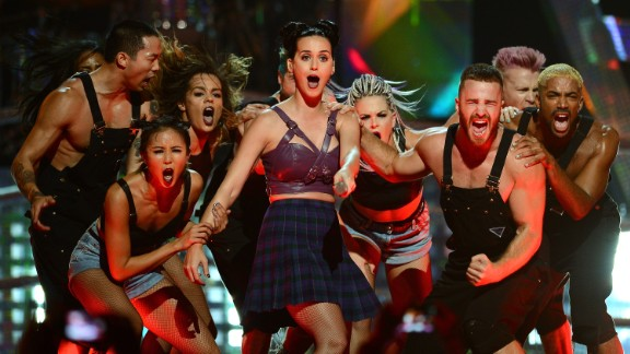 Katy Perry performs during the iHeartRadio Music Festival in 2013.