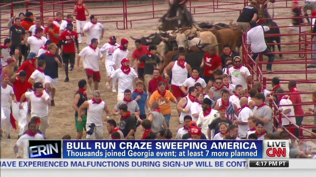 ca429f16f6f Thrill seekers run with bulls in Georgia - CNN Video
