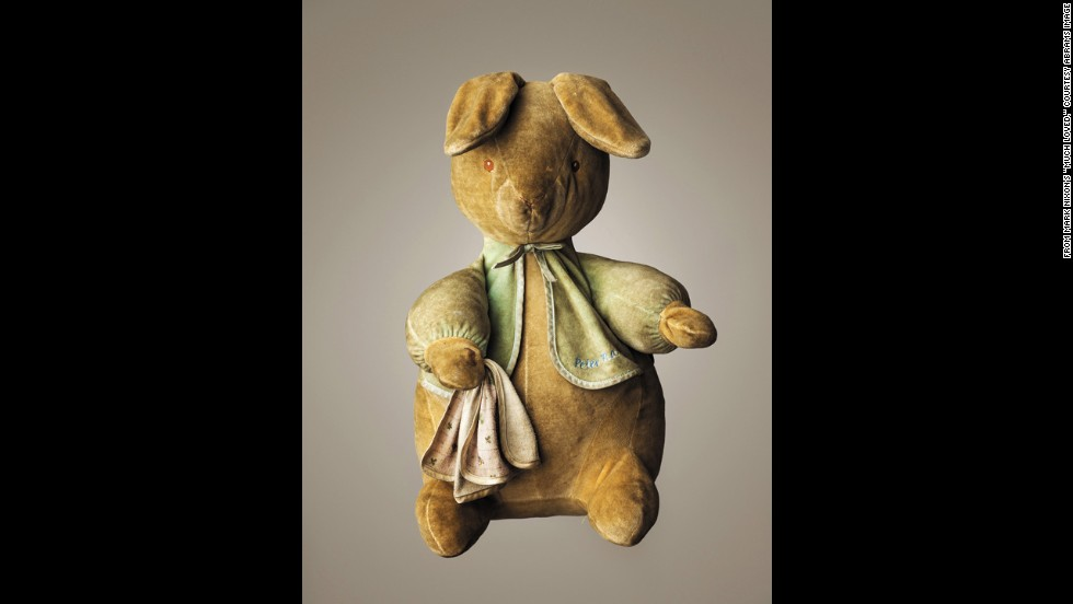 """Much Loved"" by Mark Nixon features photographs of some ""loved to bits"" teddy bears.<br />At left, <strong>Peter Rabbit --</strong><br />Age: 10.<br />Height: 16 inches.<br />Belongs to Calum Nixon."