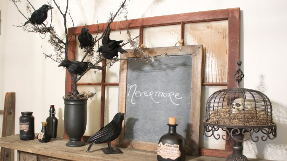 "Edgar Allen Poe's poem ""The Raven"" inspired blogger Roeshel Summerville to create this ""nevermore tree."" Her blog The DIY Showoff shows how to recreate this display."