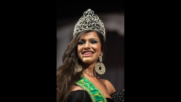 Raika Ferraz smiles after winning the Miss T Brazil transgender beauty pageant on Monday, October 21.