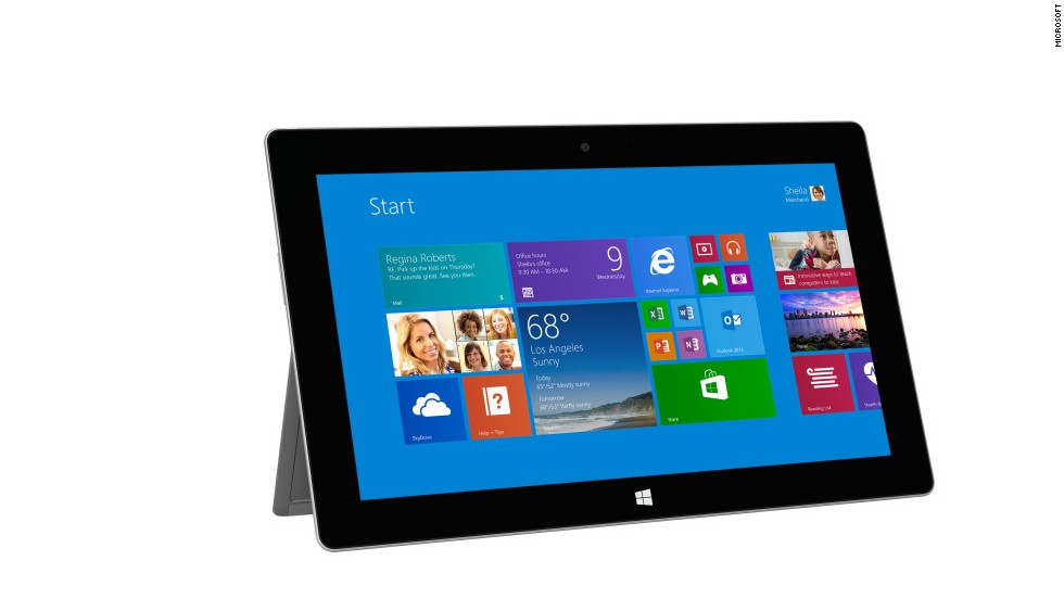 "The second generation of Microsoft's tablet-laptop hybrid, the Surface 2, was rolled out for sale October 22. Starting at $449 for a 32GB model, the Surface got thinner and more powerful and added a high-definition screen. (It also got rid of the confusing ""RT"" at the end of its name). The souped-up Surface Pro 2 starts at $899."