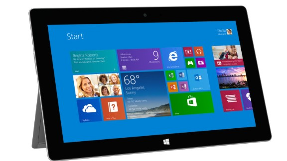 """The second generation of Microsoft's tablet-laptop hybrid, the Surface 2, was rolled out for sale October 22. Starting at $449 for a 32GB model, the Surface got thinner and more powerful and added a high-definition screen. (It also got rid of the confusing """"RT"""" at the end of its name). The souped-up Surface Pro 2 starts at $899."""